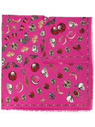 Alexander Mcqueen Jewelled Trinkets Print Scarf Pink And Purple