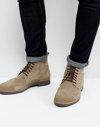 Frank Wright Brogue Boots Taupe Suede Brown