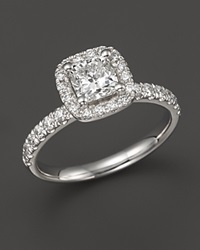 Bloomingdale's Diamond Cushion Cut Halo Engagement Ring With Pave Band In 18K White Gold 1.50 Ct. T.W.