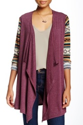 Love Zoe Aztec Mix Print Sleeve Draped Cardigan Multi