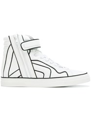 Pierre Hardy Velcro Strap Zipped Hi Tops White