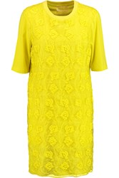 Giambattista Valli Layered Embroidered Chiffon And Cotton Jersey T Shirt Dress Yellow