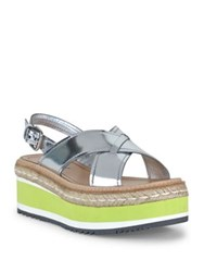 Prada Crisscross Metallic Leather Creeper Platform Slingbacks Argento