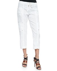 Eileen Fisher Drawstring Cropped Cargo Pants White