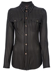 Jean Paul Gaultier Vintage Fitted Striped Shirt Black