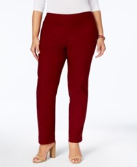 Charter Club Plus Size Cambridge Tummy Control Pull On Pants Created For Macy's Cranberry Red