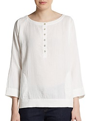 Eileen Fisher Crinkled Boatneck Blouse White