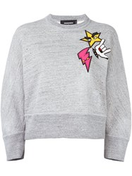 Dsquared2 'Dean' Punk Patch Sweater Grey