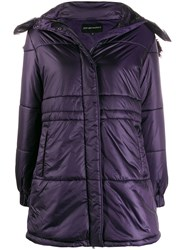 Emporio Armani Single Breasted Hooded Coat Purple