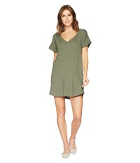 Allen Allen Short Sleeve Vee Dress With Pockets Cilantro Green