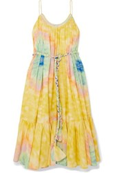 Rhode Resort Lea Belted Tie Dyed Cotton Voile Midi Dress Yellow