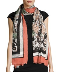 Burberry Beasts And Leaves Cotton Shawl Taupe