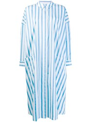 Maison Rabih Kayrouz Striped Oversized Shirt Dress Blue