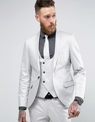Noose And Monkey Super Skinny Suit Jacket In Metallic Silver