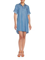 Saks Fifth Avenue Roll Tab Sleeve Chambray Shirtdress