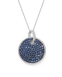 Bloomingdale's Sapphire And Diamond Disc Pendant Necklace In 14K White Gold 18 Blue White