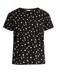 Saint Laurent Stars And Moons Print T Shirt Black White
