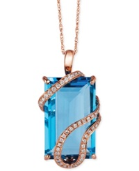 Le Vian Blue Topaz 10 3 8 Ct. T.W. And Diamond 1 5 Ct. T.W. Wrap Pendant Necklace In 14K Rose Gold