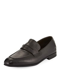 Ermenegildo Zegna Lasola Soft Burnished Leather Penny Loafers Black