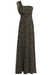 Mikael Aghal One Shoulder Printed Georgette Gown Black