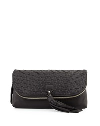 Cole Haan Skylar Leather Weave Clutch Bag Black