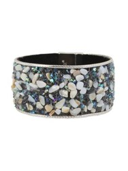 Kenneth Cole Power Of The Flower Mother Of Pearl Chips And Crystal Bracelet Silver