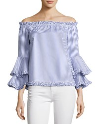 Caroline Constas Tina Striped Off The Shoulder Tiered Sleeve Top Blue White