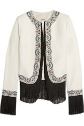 Talitha Joey Embroidered Fringed Silk Twill Jacket Ivory