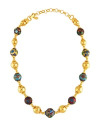 Jose And Maria Barrera Cloisonne Hammered Beaded Necklace Multi