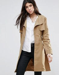 Brave Soul Belted Trench Coat Tan