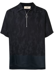Loveless Printed Zip Polo Shirt Blue