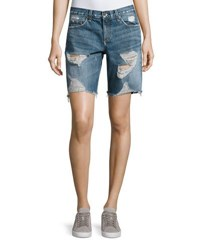 Rag And Bone Mid Rise Denim Walking Shorts Blue
