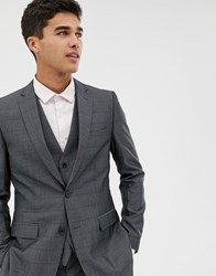 French Connection Prince Of Wales Check Slim Fit Suit Jacket Grey