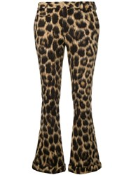 R 13 R13 Leopard Print Flared Trousers Nude And Neutrals