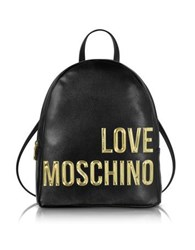 Love Moschino Eco Leather Backpack W Signature Logo Black