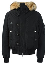Dsquared2 Padded Fur Trim Bomber Jacket Black