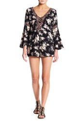 Angie Lace Up Bell Sleeve Romper Black