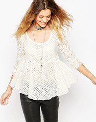 Free People Gracie Lace T Shirt Cream