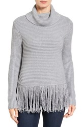 Michael Michael Kors Women's Fringe Turtleneck Sweater Pearl Heather
