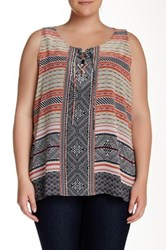 Halo Lace Up Printed Tank Plus Size Multi