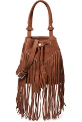 Sandro H15 Adula Fringed Suede Shoulder Bag Brown