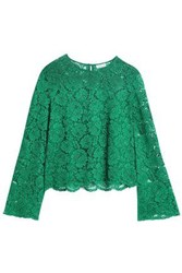 Claudie Pierlot Cotton Blend Corded Lace Top Emerald