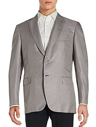 Brioni Checkered Silk Blend Sportcoat Light Grey