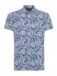 Criminal Fraser Leaf Print Short Sleeve Shirt Blue