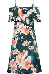 Paul And Joe Cold Shoulder Floral Print Satin Twill Dress Orange