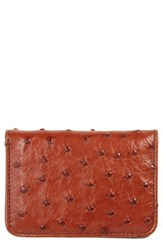 Mezlan Men's Ostrich Leather Card Case Red Brandy