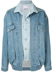Ground Zero Layered Denim Jacket Blue