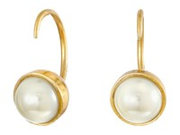 Marc Jacobs Small Pearl Hook Earrings Cream Antique Gold Earring