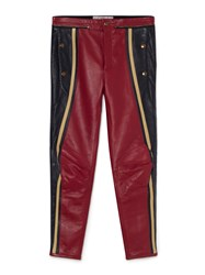 Chloe Panelled Leather Biker Trousers Red