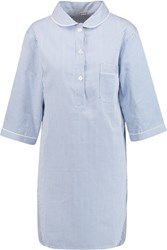 Bodas Verbier Striped Cotton Nightdress Blue